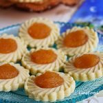 Pineapple Tarts (Kuih Tart) on small blue plate