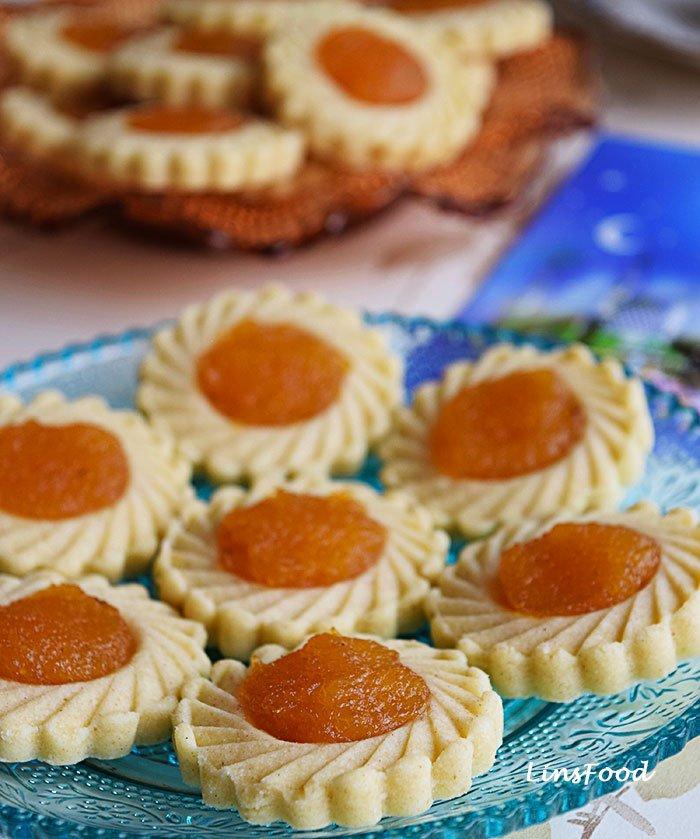Pineapple Tarts (Kuih Tart) on small blue plate