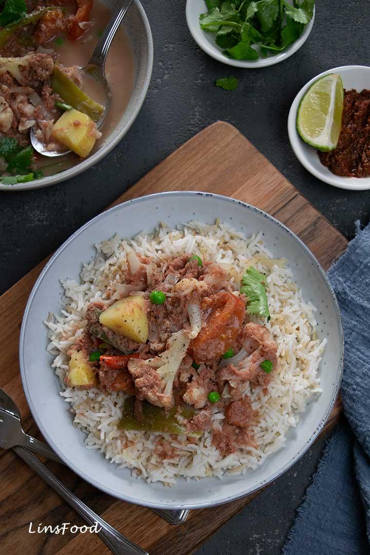 Eurasian Corned Beef Stew with rice