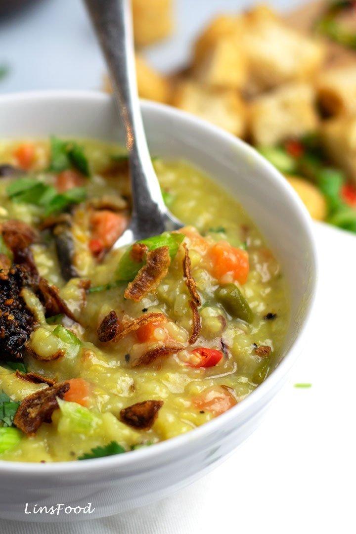 a spoonful of Vegan Bubur Lambuk