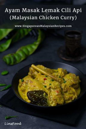 yello chicken curry in a black bowl