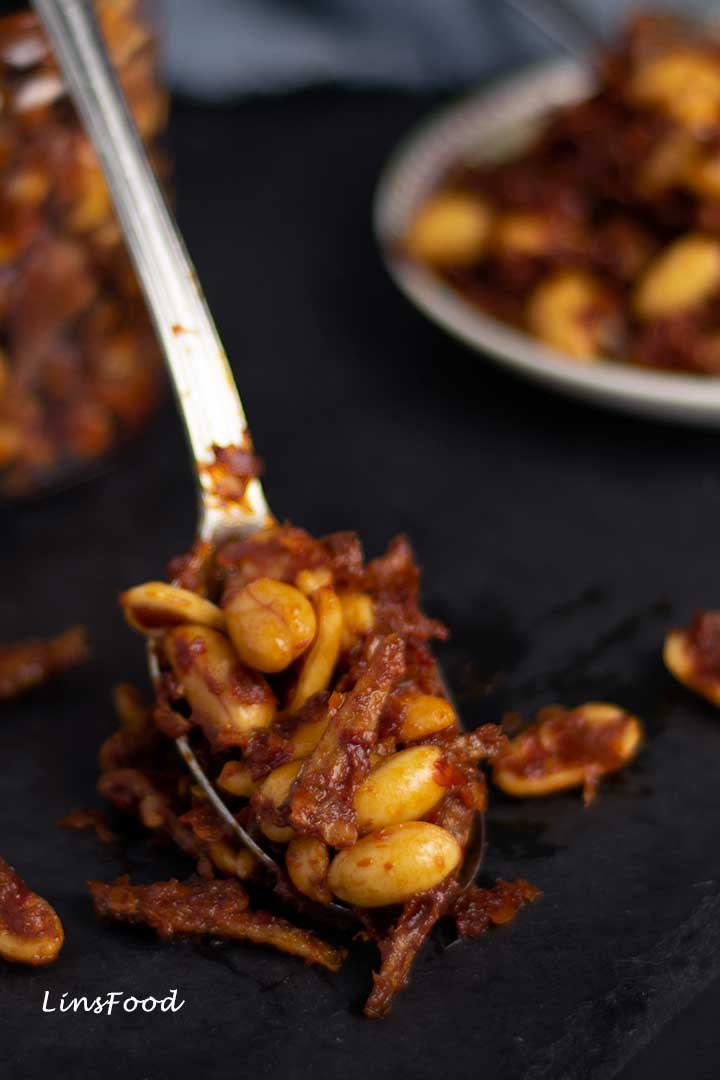 Dry Sambal with Peanuts and Anchovies on a spoon